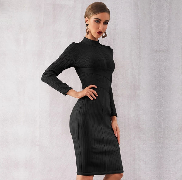Lorena Bandage Dress- Black - Top Glam Shop