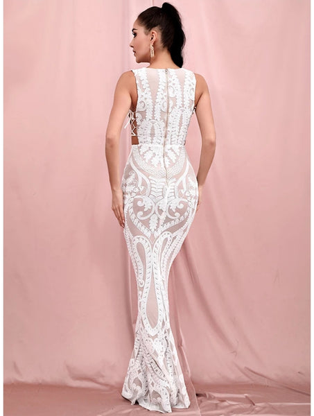 Marbella Deep-V Gown- White