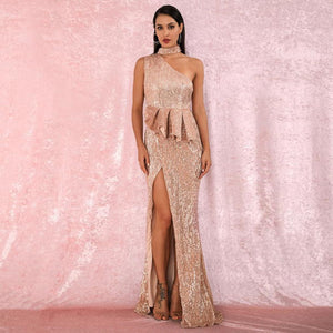 Martina Ruffled Gown- Gold - Top Glam Shop