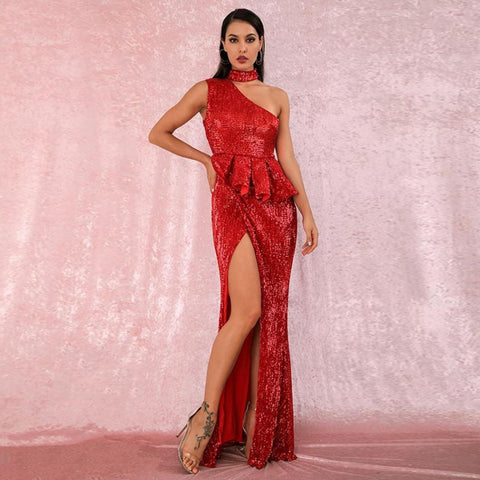 Martina Ruffled Gown- Red - Top Glam Shop