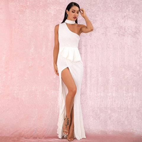 Martina Ruffled Gown- White - Top Glam Shop