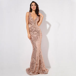 Monet Sequin Gown- Gold - Top Glam Shop