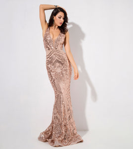 Monet Sequin Gown- Gold