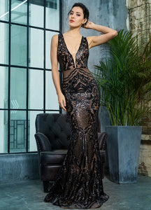Monet Sequin Gown- Black