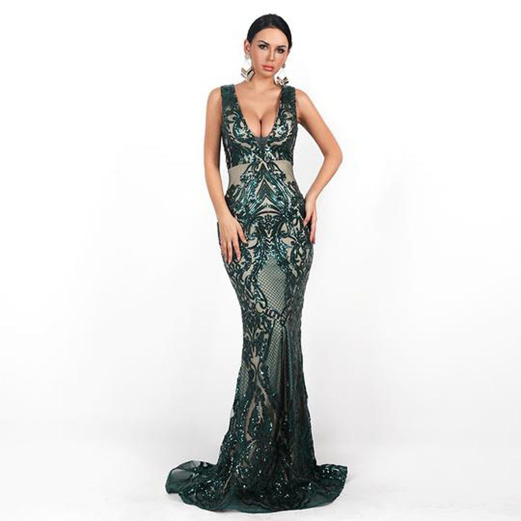Monet Sequin Gown- Deep Green