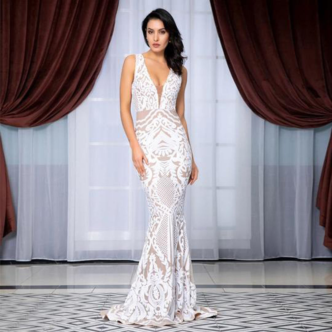 Monet Sequin Gown- White