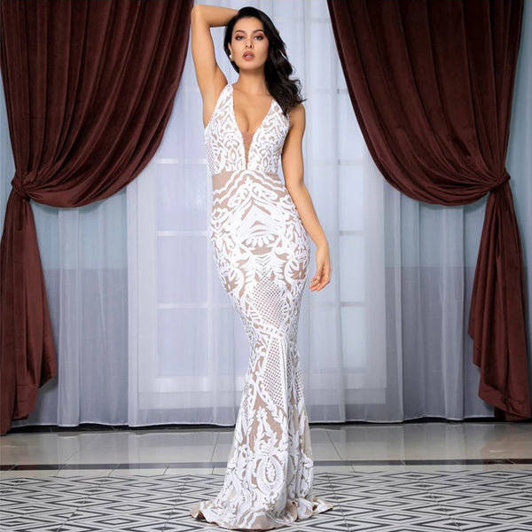 Monet Sequin Gown- White - Top Glam Shop