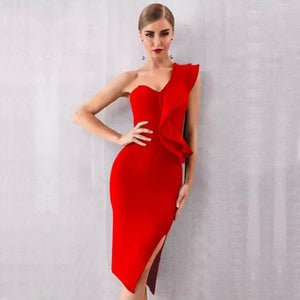 Red One-Shoulder Ruffle Bandage Dress - Top Glam Shop