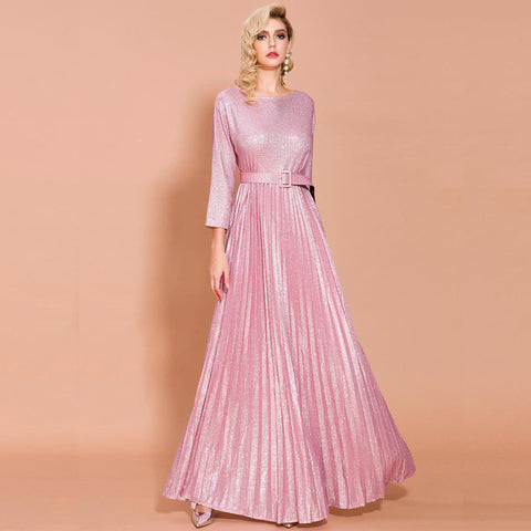 Safiya Pleated Dress- Pink - Top Glam Shop