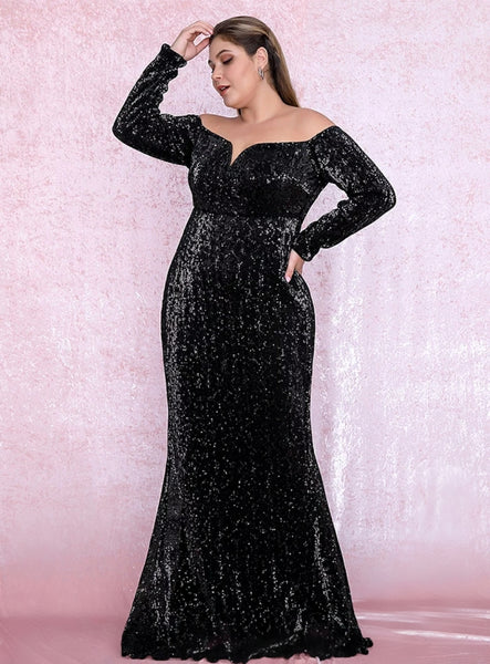 Giselle Gown- Black (Curve) - Top Glam Shop