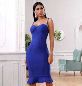 Royal Blue Bandage Midi Fishtail Dress - Top Glam Shop