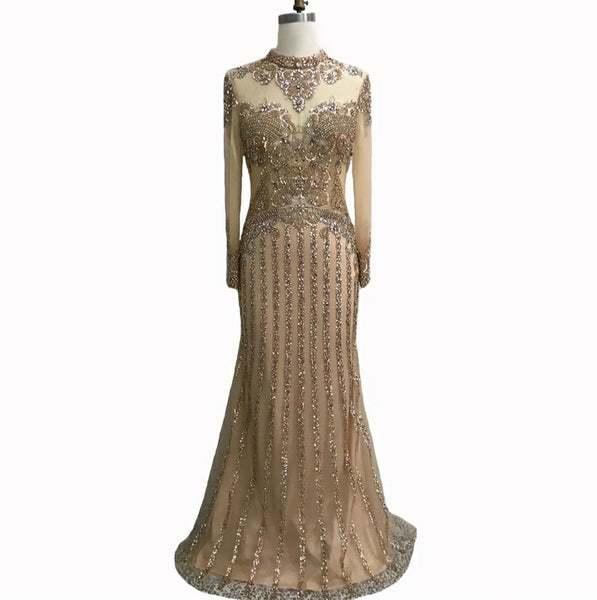 Long sleeve gold sparkly modest Muslim rhinestone crystal beaded wedding prom dress with train shawl