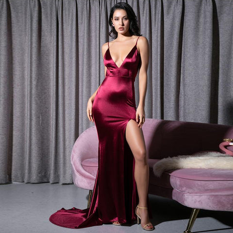 Serafina Gown- Deep Red - Top Glam Shop