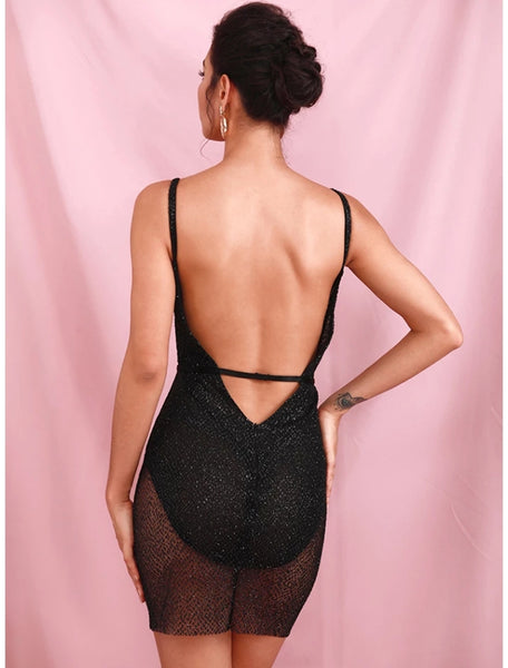 Black Mini Glitter Backless Dress - Top Glam Shop