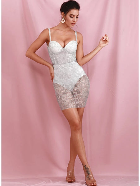 Silver Mini Glitter Backless Dress - Top Glam Shop