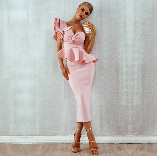 Starlet Ruffle Dress- Pink - Top Glam Shop