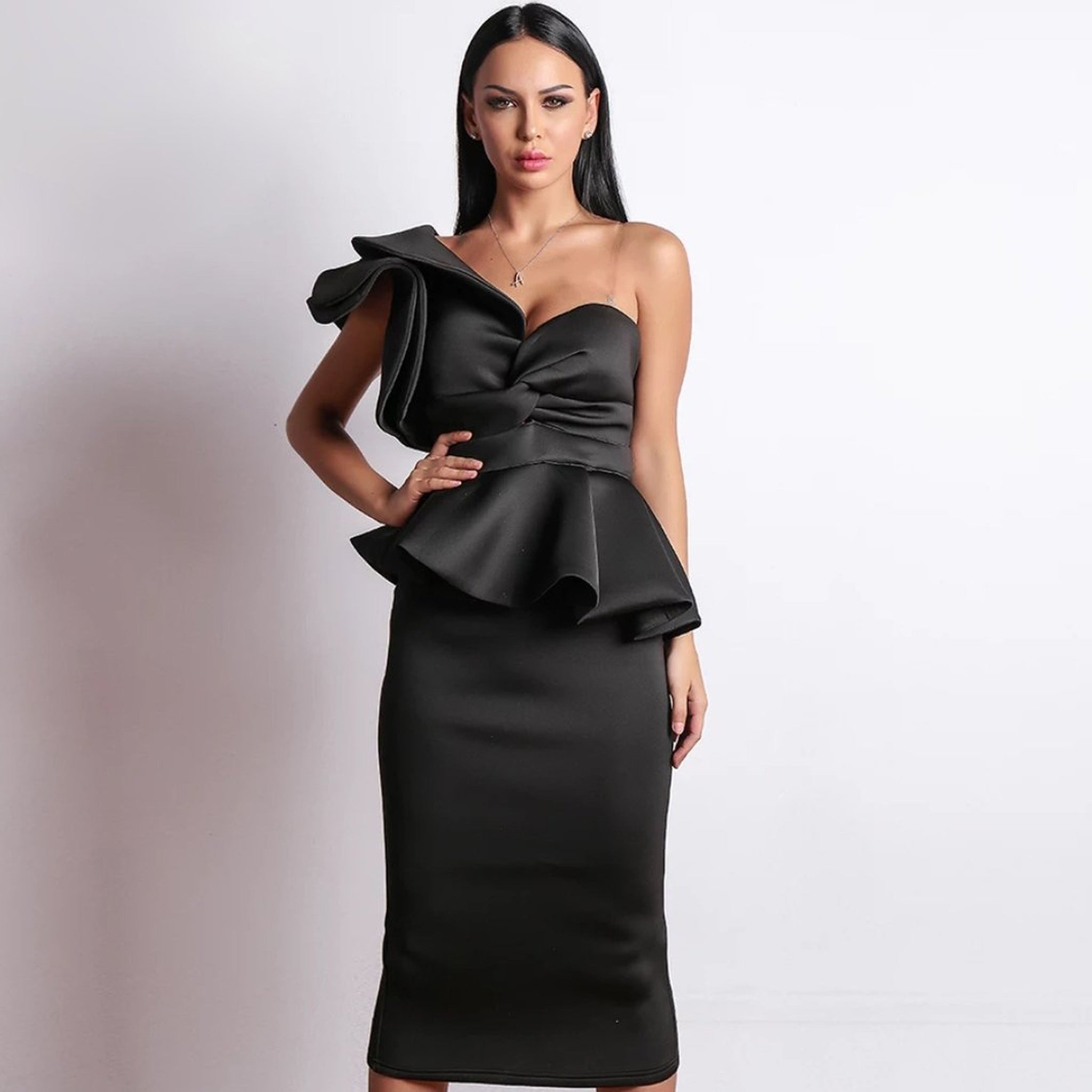 Starlet Ruffle Dress- Black - Top Glam Shop