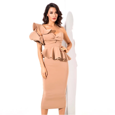 Starlet Ruffle Dress- Sand - Top Glam Shop