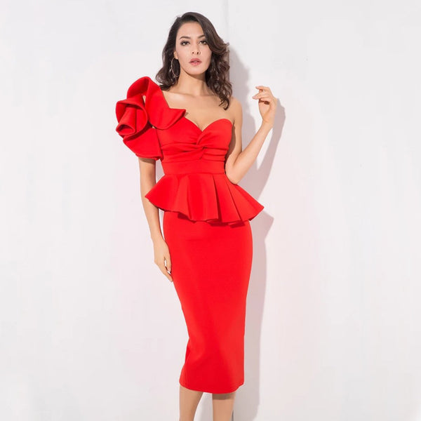 Starlet Ruffle Dress- Red - Top Glam Shop