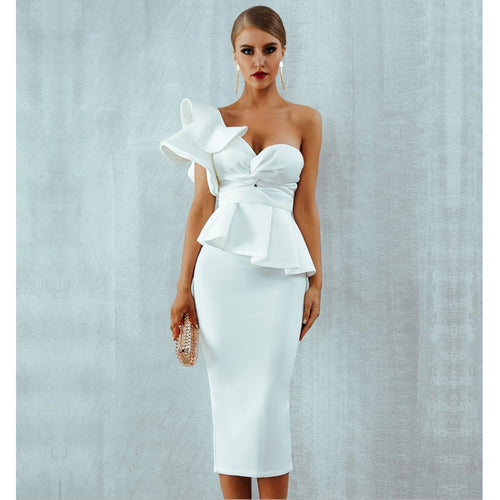 Starlet Ruffle Dress- White