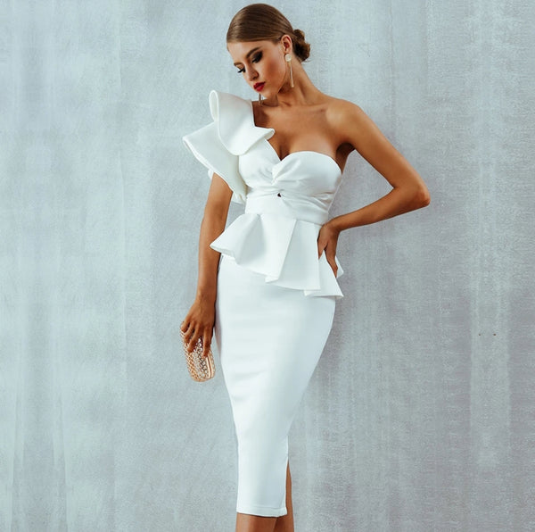 Starlet Ruffle Dress- White - Top Glam Shop
