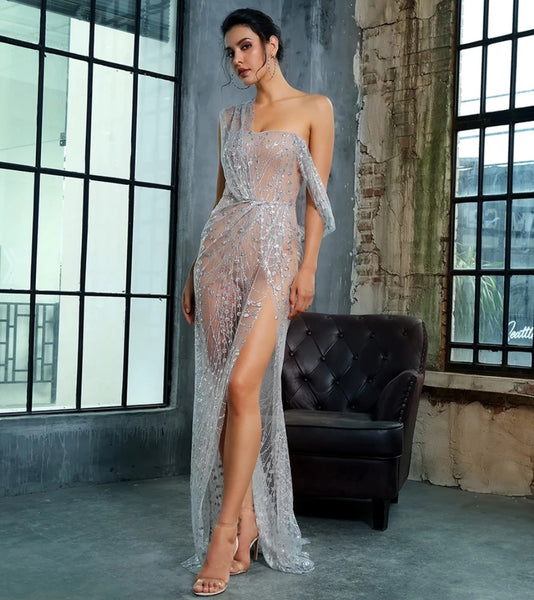 Stefania Gown- Silver - Top Glam Shop