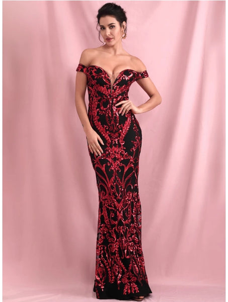 Venezia Sequin Gown- Black/Red - Top Glam Shop