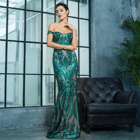 Venezia Sequin Gown- Emerald - Top Glam Shop