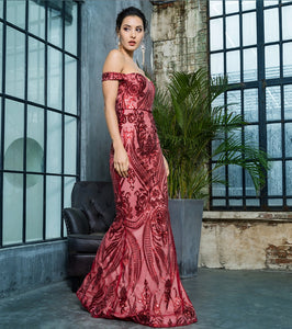 Venezia Sequin Gown- Red
