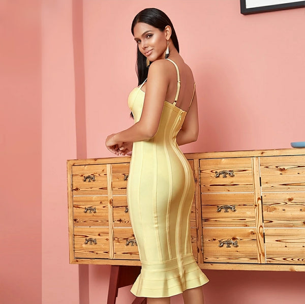 Yellow Bandage Midi Fishtail Dress - Top Glam Shop