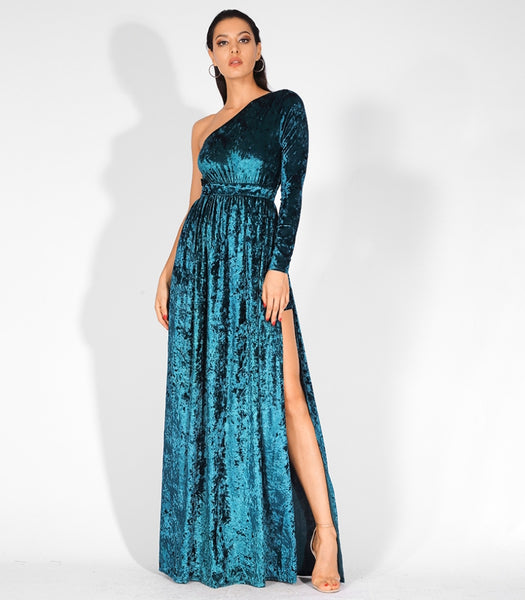 Sahar Gown- Dark Cyan - Top Glam Shop