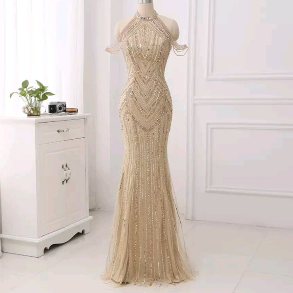 Zonnique Beaded Gown- Gold - Top Glam Shop