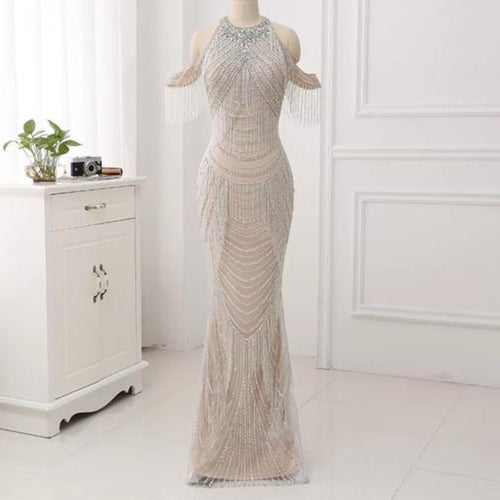 Zonnique Beaded Gown- Silver