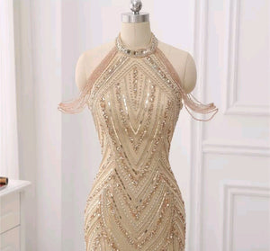 Zonnique Beaded Gown- Gold