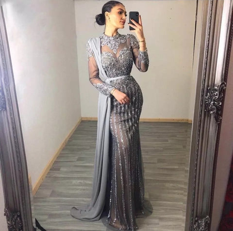 Long sleeve silver grey modest Muslim rhinestone crystal beaded wedding prom dress with train shawl