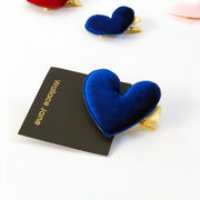 Simple Velvet Love Heart Hair Clip