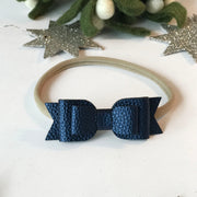 Navy Blue Double Bow Head Wrap