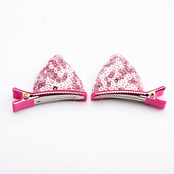 Sequin Cat Ear Hair Clip Set