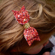 Red & Pink Glitter Bows with Gold (3 Pack)