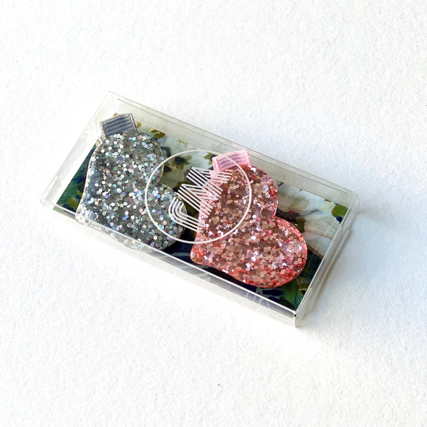 Glitter Resin Love Heart Hair Clip Set (Silver & Pink)