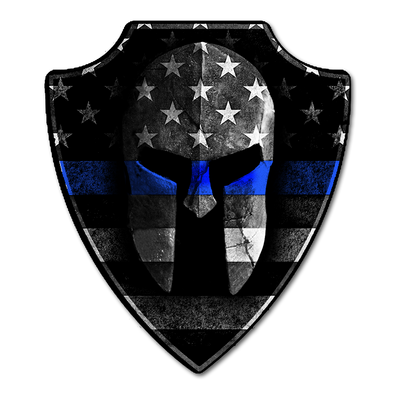 Thin Blue Line Spartan Helmet Decal