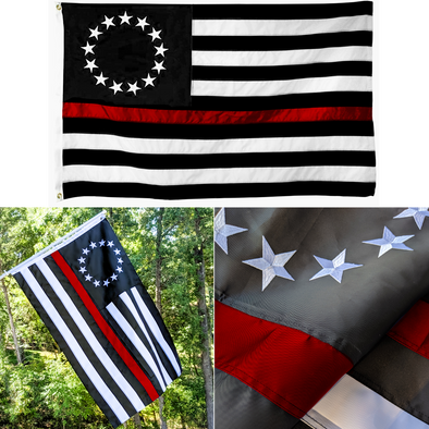 Embroidered Thin Red Line Betsy Ross Flag