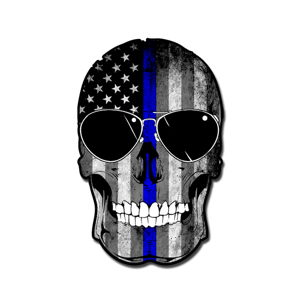 Thin Blue Line Flag Skull Decal