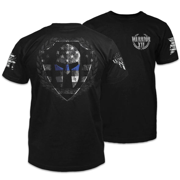 Spartan Helmet Thin Blue Line Shirt