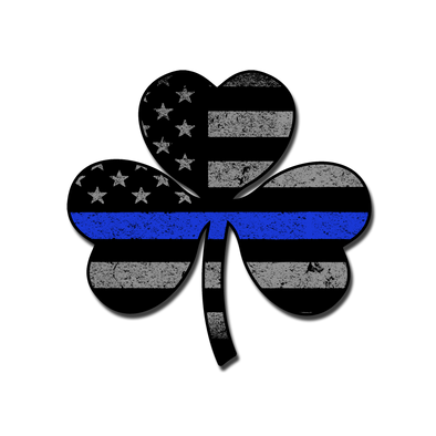 Thin Blue Line Shamrock Flag Decal