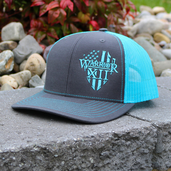 The Warrior Snapback Hat Charcoal/Neon Blue