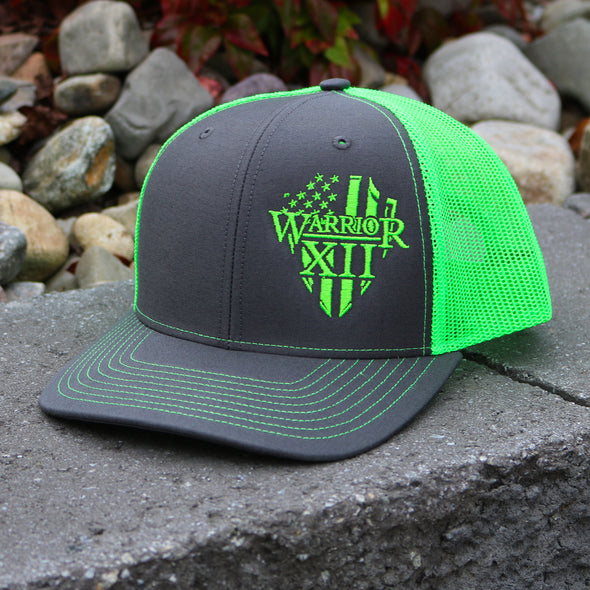 The Warrior Snapback Hat Charcoal/Neon Green