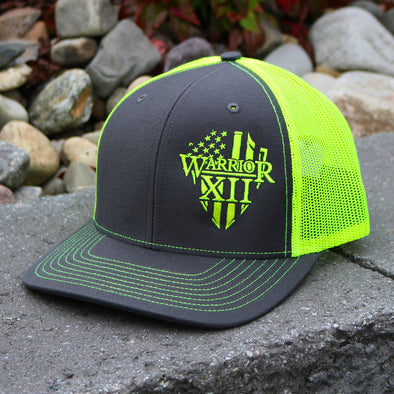 The Warrior Snapback Hat Charcoal/Neon Yellow