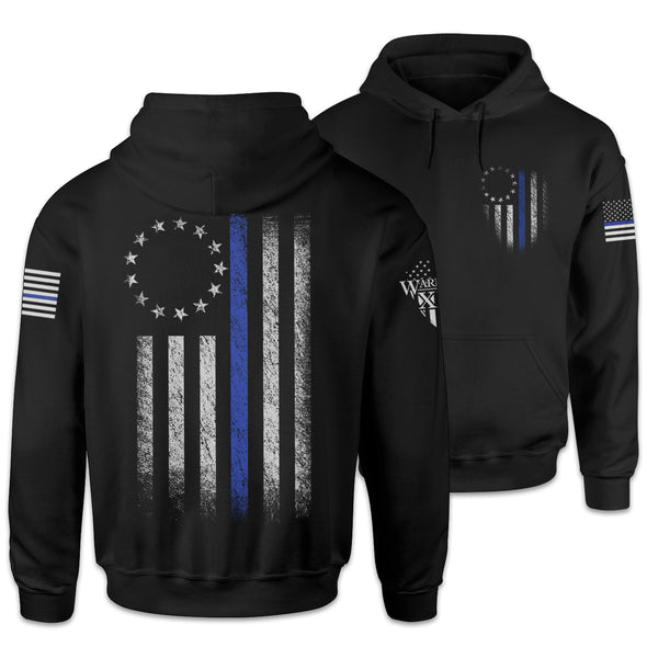 Thin Blue Line Betsy Ross Flag Hoodie