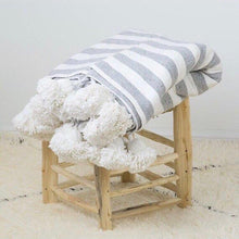 Load image into Gallery viewer, Pom Pom Blanket White with Gray Stripes